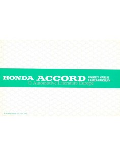 1986 HONDA ACCORD OWNER'S MANUAL HANDBOOK