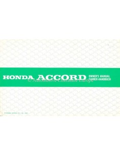 1985 HONDA ACCORD OWNER'S MANUAL