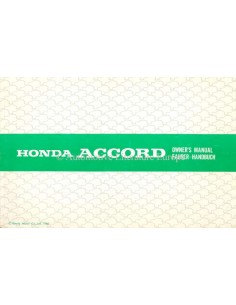 1981 HONDA ACCORD OWNER'S MANUAL