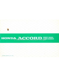 1986 HONDA ACCORD OWNER'S MANUAL