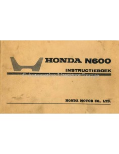 1968 HONDA N600 OWNER'S MANUAL HANDBOOK DUTCH