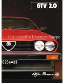 1982 ALFA ROMEO GTV 2.0 BROCHURE DUTCH