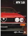 1982 ALFA ROMEO GTV 2.0 BROCHURE NEDERLANDS