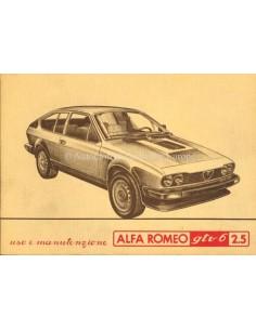 1980 ALFA ROMEO GTV6 2.5 OWNERS MANUAL ITALIAN