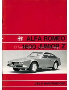 1972 ALFA ROMEO JUNIOR ZAGATO BETRIEBSANLEITUNG ITALIENISCH