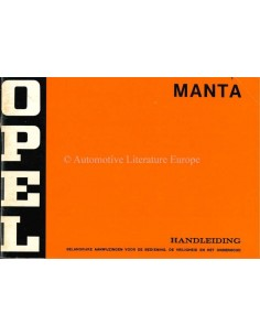 1974 OPEL MANTA OWNERS MANUAL DUTCH