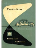 1953 VOLKSWAGEN LIMOUSINE CONVERTIBLE OWNERS MANUAL DUTCH