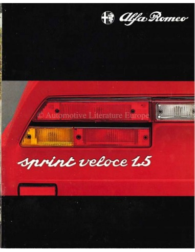 1980 Alfa Romeo Sprint Veloce Brochure Nederlands