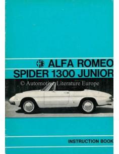 1968 ALFA ROMEO SPIDER 1300 BETRIEBSANLEITUNG ENGLISCH