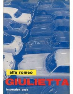 1961 ALFA ROMEO GIULIETTA BETRIEBSANLEITUNG ENGLISCH