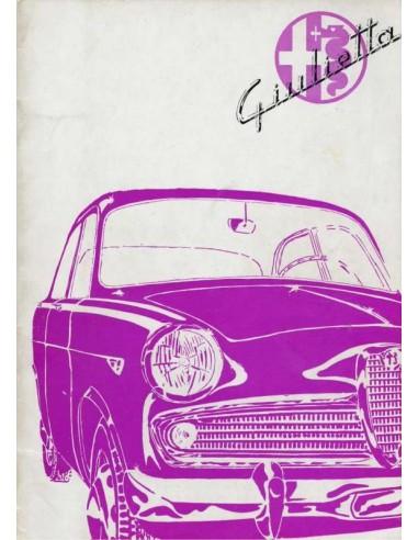 1961 ALFA ROMEO GIULIETTA INSTRUCTIEBOEKJE ENGELS