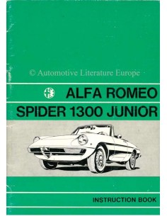 1971 ALFA ROMEO SPIDER 1300 JUNIOR OWNERS MANUAL ENGLISH