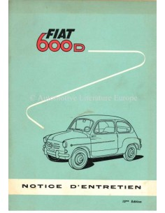 1962 FIAT 600 D OWNERS MANUAL FRENCH