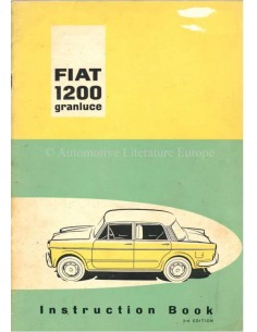 1959 FIAT 1200 GRANLUCE BETRIEBSANLEITUNG ENGLISCH