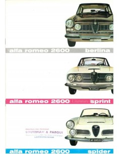1962 ALFA ROMEO 2600 SPRINT / SALOON / SPIDER BROCHURE ENGLISH