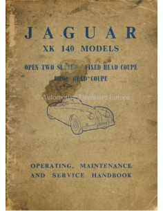 1954 JAGUAR XK 140 OWNERS MANUAL ENGLISH