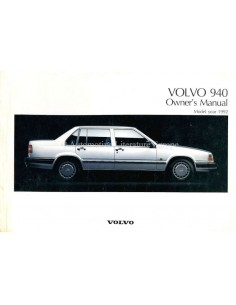 1992 VOLVO 940 OWNERS MANUAL ENGLISH