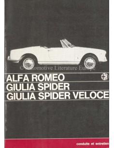 1965 ALFA ROMEO GIULIA SPIDER VELOCE BETRIEBSANLEITUNG FRANZÖSISCH
