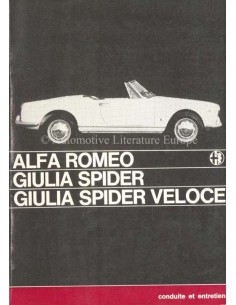 1965 ALFA ROMEO GIULIA SPIDER VELOCE OWNERS MANUAL FRENCH