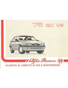 1990 ALFA ROMEO 75 3.0 V6 SUPPLEMENT OWNERS MANUAL ITALIAN