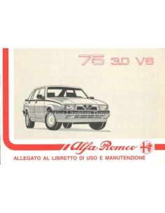 1990 ALFA ROMEO 75 3.0 V6 ZUSATZ BETRIEBSANLEITUNG ITALIENISCH
