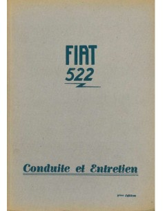 1931 FIAT 522 OWNERS MANUAL FRENCH