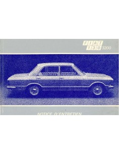 1972 FIAT 130 3200 SALOON OWNERS MANUAL FRENCH