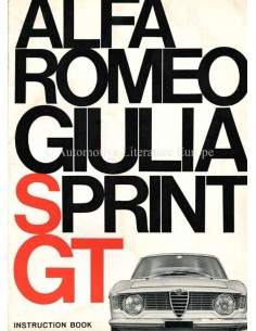 1964 ALFA ROMEO GIULIA SPRINT GT OWNERS MANUAL ENGLISH