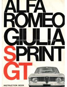 1964 ALFA ROMEO GT JUNIOR 1300 BETRIEBSANLEITUNG ENGLISCH