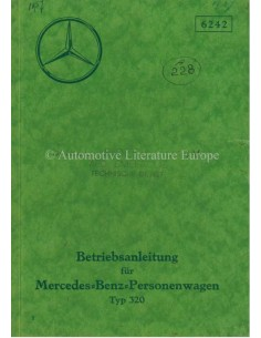 1937 MERCEDES BENZ TYPE 320 OWNERS MANUAL GERMAN