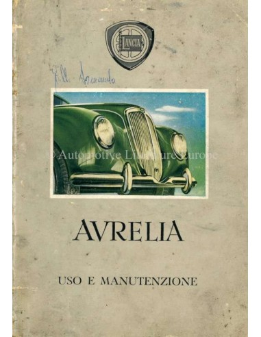 1952 LANCIA AURELIA BETRIEBSANLEITUNG ITALIENISCH