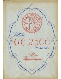 1949 ALFA ROMEO 6C 2500 SPORT & SUPERSPORT OWNERS MANUAL ITALIAN
