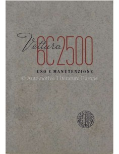 1939 ALFA ROMEO 6C 2500 TURISMO & SPORT INSTRUCTIEBOEKJE ITALIAANS