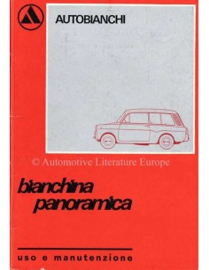 1970 AUTOBIANCHI BIANCHINA PANORAMICA OWNERS MANUAL ITALIAN