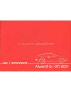 1980 ALFA ROMEO ALFETTA GT 1.6 / GTV 2000 OWNERS MANUAL ITALIAN