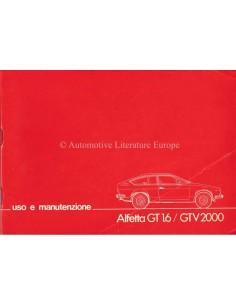 1976 ALFA ROMEO ALFETTA GT 1.6 / GTV 2000 BETRIEBSANLEITUNG ITALIENISCH