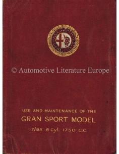 1928 ALFA ROMEO 1750 GRAN SPORT 6C 17/95 INSTRUCTIEBOEKJE ENGELS