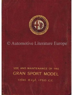 1928 ALFA ROMEO 1750 GRAN SPORT 6C 17/95 OWNERS MANUAL ENGLISH