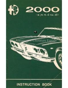 1962 ALFA ROMEO 2000  SPRINT OWNERS MANUAL ENGLISH
