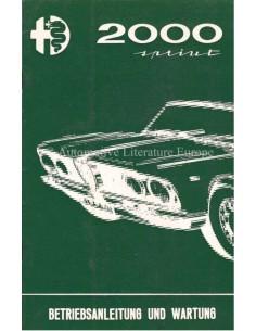 1962 ALFA ROMEO 2000  SPRINT BETRIEBSANLEITUNG DEUTSCH