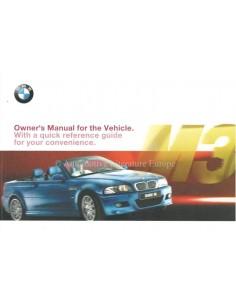 2002 BMW M3 CABRIOLET INSTRUCTIEBOEKJE ENGELS