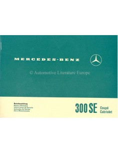 1966 MERCEDES BENZ 300 SE OWNER'S MANUAL