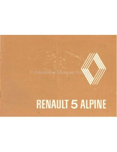 1980 RENAULT 5 ALPINE OWNERS MANUAL SUPPLEMENT