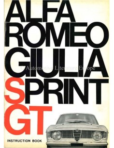 1966 ALFA ROMEO GIULIA SPRINT GT OWNERS MANUAL ENGLISH