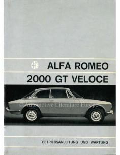 1971 ALFA ROMEO 2000 GT VELOCE OWNERS MANUAL GERMAN