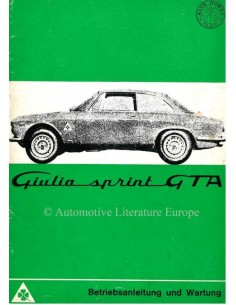1965 ALFA ROMEO GIULIA SPRINT GTA OWNERS MANUAL GERMAN