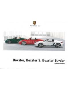 2012 PORSCHE BOXSTER & S & SPYDER BETRIEBSANLEITUNG BOXSTER