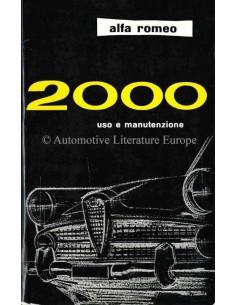 1961 ALFA ROMEO 2000 OWNERS MANUAL ITALIAN