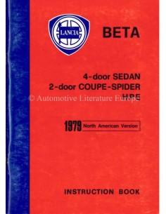 1979 LANCIA BETA BETRIEBSANLEITUNG ENGELS (USA)