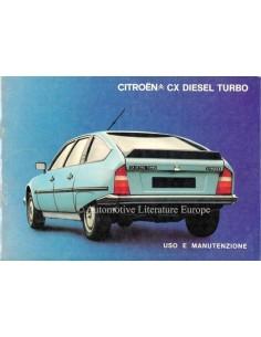 1984 CITROËN CX DIESEL TURBO OWNERS MANUAL ITALIAN